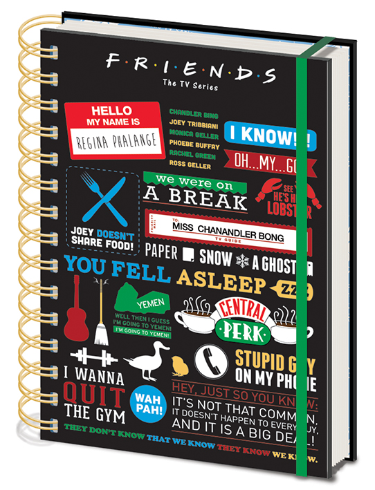 Friends A5 Wired Notebook with Classic moments and Sayings